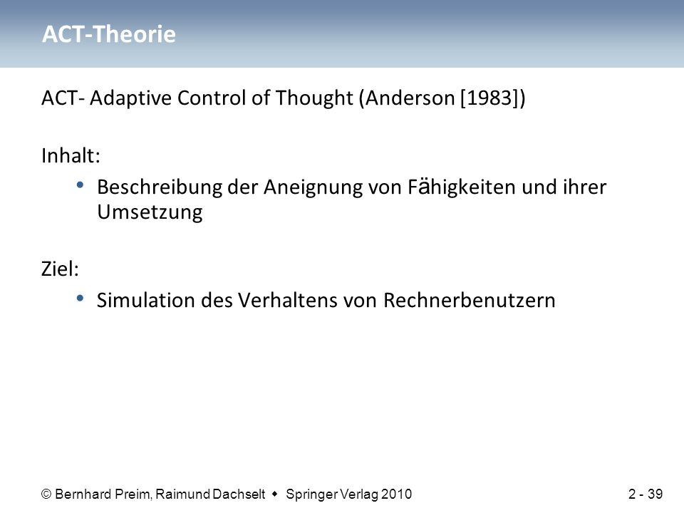 ACT-Theorie ACT- Adaptive Control of Thought (Anderson [1983]) Inhalt: